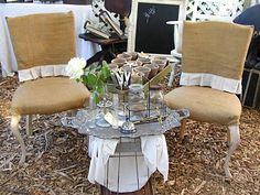 burlap slipcovers 4 chair's love...The fruniture queen at The vintage marketplace...