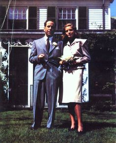 Humphrey Bogart and Lauren Bacall on their wedding day - 1945