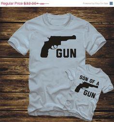 SALE- MATCHING Gun - Son of a Gun -parent pistol father mother kid T-Shirt Bodysuit -fun clothing adult infant children -376 by FunTimePrints on Etsy https://www.etsy.com/listing/220976938/sale-matching-gun-son-of-a-gun-parent