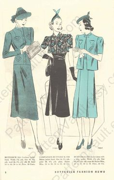 Butterick Fashion News, April 1938 featuring Butterick 7811, 7788 and 7807
