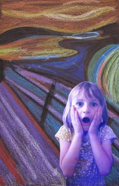 The Scream art lesson sample (5th)    I've seen these done before and they're awesome.