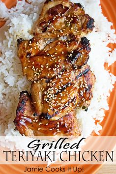 Grilled Teriyaki Chicken from Jamie Cooks It Up! This is our new favorite way to enjoy grilled chicken. Tender, juicy and full of sweet teriyaki flavor. Chicken Teriyaki Rezept, Grilled Teriyaki Chicken, Grilled Chicken Recipes, Grilled Meat, Asian Recipes, Healthy Recipes, Drink Recipes, Dinner Recipes, Healthy Dishes