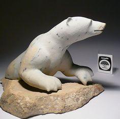Polar Bear by Joseph Shuqslak Original Signed Inuit Art Carving Soapstone Eskimo… Animal Sculptures, Sculpture Art, Teddy Bear Cartoon, Soapstone Carving, Inuit Art, Bear Art, Bone Carving, Indigenous Art, Polar Bears