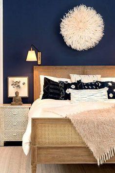 blue bedroom ideas Dark Accent Wall Bedroom Navy Blue Ideas You Can Copy # Blue Bedroom Walls, Blue Bedroom Decor, Bedroom Wall Colors, Accent Wall Bedroom, Paint Colors For Living Room, Home Bedroom, Navy Bedrooms, Master Bedrooms, Bedroom Inspo