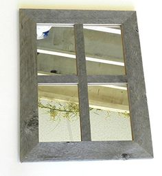 "2"" Medium Rustic 4 Pane 14"" X 18"" Reclaimed Barnwood Window Mirror"