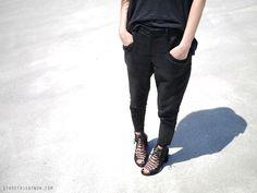 helmut lang pants, ann demeulemeester sandals.