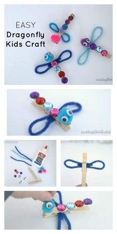 How to make a clothespin dragonfly craft for kids! Fun photo holder or magnet kids craft. Easy spring and summer kids craft. Summer Crafts For Kids, Spring Crafts, Projects For Kids, Diy For Kids, Kids Fun, Summer Kids, Craft Kits For Kids, Craft Projects, Bee Crafts