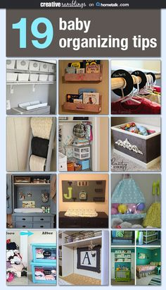 19 baby organizing tips. Babies may be small but they come with lots and lots of stuff. Here are lots of great ways to keep all that stuff in an orderly fashion. #baby #organization #organizing
