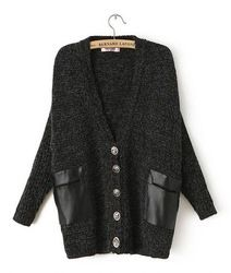 Women Winter Black Long Sleeve Contrast Leather Pockets Cardigan Skull button Sweater