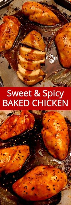 These sweet and spicy baked chicken breasts are mouthwatering, you just can't stop eating them! Chicken breast is baked in the oven with the homemade sweet and spicy sauce, amazing! Super easy to make, perfect for a weeknight dinner!