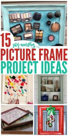 Combine beauty and functionality with these 15 picture frame project ideas. Save money by repurposing frames you already have or get them second hand. Door Picture Frame, Empty Picture Frames, Unique Picture Frames, Picture On Wood, Decorate Picture Frames, Crafts With Picture Frames, Picture Frame Inspiration, Picture Frame Projects, Crafts With Pictures