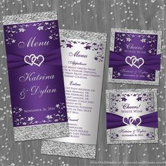 This romantic and elegant joined hearts purple and silver gray floral wedding reception menu card has a printed ribbon, a pair of printed diamond and purple faux glitter joined jewel hearts on it with silvery grey flowers and a faux textured foil loo Silver Wedding Invitations, Wedding Invitation Sets, Wedding Menu, Floral Wedding, Destination Wedding, Wedding Flowers, Wedding Ideas, Wedding Reception, Wedding Planning