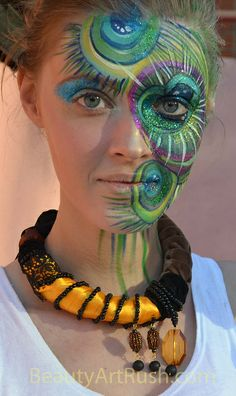 Peacock Feather Inspired Face Painting by Beauty Art Rush, via Flickr NEXT YEAR