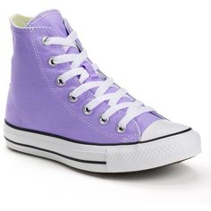 Adult Converse All Star Chuck Taylor High-Top Sneakers (330 MXN) ❤ liked on Polyvore featuring shoes, sneakers, converse, lt purple, lace up sneakers, lace up shoes, converse trainers, unisex sneakers and hi tops