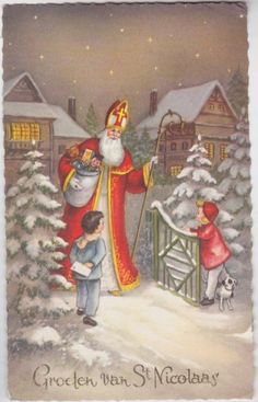 Sinterklaas kaart uit 1963 St Nicholas Santa Claus, St Nicholas Day, Antique Christmas, Christmas Items, Christmas Art, Early Christian, Catholic Saints, Roman Empire, Kids Toys