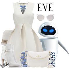 EVE - Disney Pixar's Wall-E by rubytyra featuring round sunglasses Disney Bound Outfits Casual, Cute Disney Outfits, Disney Princess Outfits, Disney Themed Outfits, Disney Dresses, Disney Clothes, Disney Inspired Fashion, Character Inspired Outfits, Disney Fashion