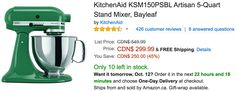 Amazon Canada Deals Of The Day: Save 45% On KitchenAid Artisan 5-Quart Stand Mixer Bayleaf With FREE Shipping http://www.lavahotdeals.com/ca/cheap/amazon-canada-deals-day-save-45-kitchenaid-artisan/125675