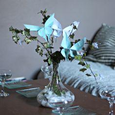 Centre de table #papillon #turquoise // Participez à notre #concours #facebook on.fb.me/1ehQvGu