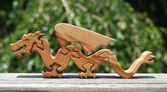 Scrap Dragon Wooden Animal Puzzle - American Cherry