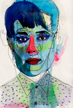 something to do with a blind contour drawing? Blue by Alvaro Tapia Hidalgo I like this idea of layering faces - color under line. Pintura Graffiti, Blind Contour Drawing, Contour Drawings, Arte Pop, Art Plastique, Portrait Art, Art Studios, Figurative Art, Oeuvre D'art