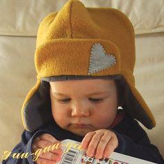 child hat mustard yellow grey polar fleece winter for by GuuGuuGa