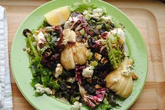 Red Leaf Lettuce and Radicchio with Pear Salad from My Life Runs on Food.  Use up that fennel in your crisper and the red leaf lettuce & pears from this week's box!