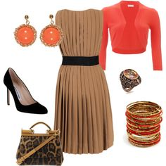 brown and coral, created by sgchavez on Polyvore