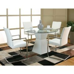 Cramco Virgo 5-Piece Dining Set - White by Cramco. $999.99. Breuer arm chair with polyurethane upholstery. Table dimensions: 45L x 45W x 30H inches. Sleek, contemporary design. Base is made of acrylic fibers in white finish. Modern acrylic table base, glass top. Put a little va va voom in your dining room with the Cramco Virgo 5-Piece Dining Set White . A vessel for contrast, this set verges on vice. With a round beveled glass top and w...