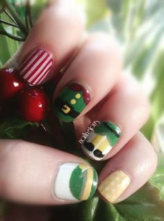 Day 9: I'm an Elf! https://www.facebook.com/Nailingtons  #christmasnailart #nailart #christmasnails #diynailart #elfnails