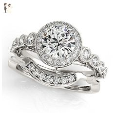 14K White Gold Unique Wedding Diamond Bridal Set Style MT50878 - Wedding and engagement rings (*Amazon Partner-Link)