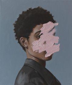 """La última colección deHenrietta Harris y sus originales retratos """"enmascarados"""" conbrochazos de pintura."""