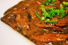 Braised portabello mushrooms in dark beer sauce #veganrecipe
