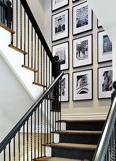 Create photos on canvas and photos on wood wall gallery collages. Mix it up; clocks, street signs, typography for stunning wall gallery. Stairway Photos, Stairway Gallery Wall, Gallery Walls, Stair Gallery, Stairway Art, Stairway Lighting, Tall Wall Decor, Staircase Wall Decor, Staircase Ideas