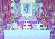 Loving this Mermaid Summer Party! The backdrop is incredible! See more party ideas and share yours Mermaid Birthday Party Decorations Diy, Mermaid Theme Birthday, Little Mermaid Birthday, Little Mermaid Parties, Girl Birthday, Birthday Parties, Little Mermaid Crafts, Mermaid Baby Showers, Backdrops For Parties