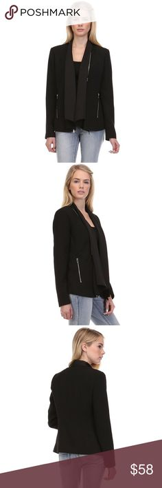 Drape Front Blazer with Zipper Details Sleek streamlined silhouette with zipper front.  Features draping and zipper detail on the sides.  Color - Black.  97% Polyester 3% Spandex.      Size-S,M,L Classic Paper Doll Jackets & Coats Blazers