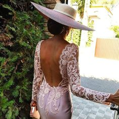 Sexy Backless Deep V Neck Sheath Cocktail Gowns With Full Lace Sleeves on Luulla Sexy Dresses, Beautiful Dresses, Evening Dresses, Fashion Dresses, Prom Dresses, Formal Dresses, Wedding Dresses, Cocktail Gowns, Womens Cocktail Dresses