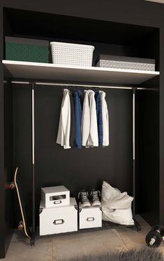 Closet Barato: 10 Dicas + 60 Fotos Criativas de Decoração DIY Wardrobe Rack, House, Furniture, Home Decor, Decoration, Baby, Cheap Closet, Closet Solutions, Decor Room