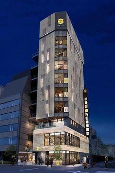 いつもの道に彩り加えるグルメタワー【GEMS田町】。田町らしい気軽さや親しみやすさを感じさせつつ、オフィスワーカーを中心とする田町の皆様に、あたらしい彩りを提供する全10店舗のグルメスポット。 Office Building Architecture, Architecture Design, Small Buildings, Facade Design, Offices, Skyscraper, Multi Story Building, Exterior, Studio