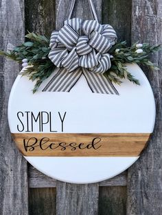 Modern Door Sign Front Door Decor Simply Blessed Door Hanger Door Hanger Wreath For Front Door Wood Wood Crafts, Diy And Crafts, Diy Wood, Modern Crafts, Adult Crafts, Decor Crafts, Paper Crafts, Front Door Signs, Front Doors