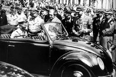 """Both Porsche and Volkswagen had close connections to the Nazis. Ferdinand Porsche designed the Nazi's """"people's car,"""" the legendary VW Beetle, and earned the admiration of Adolf Hitler. Volkswagen Factory, Car Volkswagen, Vw Cars, Vw T1, Ferdinand Porsche, Lowrider, Kdf Wagen, Porsche 550, Vw Vintage"""