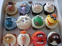 muppet cupcakes animal miss piggy kermy Sam, fozzy, beaker, rolph, scooter, gonzo