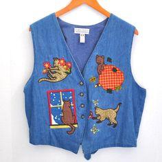 Karen Scott Vest Fall Cat Theme Size XL Extra Large Light Denim #KarenScott