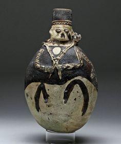 Chancay précolombien péruvienne poterie Olla homme portant un