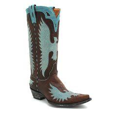 "Old Gringo 13"" Brass & Aqua Iron Eagle Boot at Maverick Western Wear"
