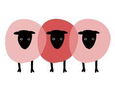 sheep//三匹並んだ赤い羊の年賀状イラスト
