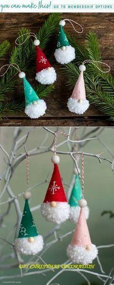 How to make pom pom gnome ornaments - crafts - how to make pom pom gnome ornaments . - How To Make Pom Pom Gnome Ornaments – Crafts – How To Make Pom Pom Gnome Ornaments – Crafts - Decoration Christmas, Christmas Crafts For Kids, Diy Christmas Ornaments, Homemade Christmas, Christmas Projects, Holiday Crafts, Christmas Christmas, Christmas Ideas, Christmas Island