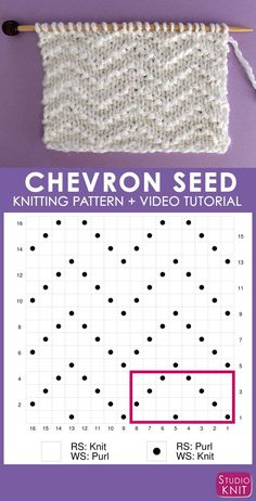 How to Knit the Chevron Seed Stitch Pattern with Studio Knit - Knitting Chart Patterns - How to Knit the Chevron Seed Stitch Pattern with Studio Knit Super helpful! Chevron Seed Knit Stitch Pattern Chart with Video Tutorial by Studio Knit Knitting Stiches, Knitting Charts, Loom Knitting, Knitting Patterns Free, Free Knitting, Knitting Socks, Stitch Patterns, Crochet Patterns, Vintage Knitting