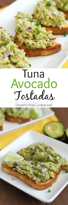 These Tuna Avocado Tostadas are healthy, scrumptious and very filling. A great meal or snack that is fresh and low budget. | SmartLittleCookie.net