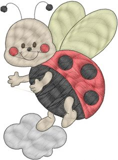 Machine Embroidery Patterns Bugs(ATG Freedesigns) Embroidery Design: Lady Bug from Anns Club - Machine Applique, Machine Embroidery Patterns, Applique Patterns, Applique Quilts, Learn Embroidery, Embroidery Applique, Patchwork Quilting, Local Embroidery, Baby Applique