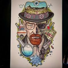 Breaking Bad Tattoo, Breaking Bad Art, Bad Drawings, Tattoo Drawings, Pencil Drawings, Labyrinth Tattoo, Braking Bad, Heisenberg, Coloring Pages
